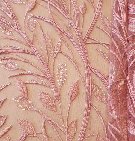 Aveņu rozā lapu rakstu izšuvumi ar fliteriem uz mīksta tilla auduma. Photo 5