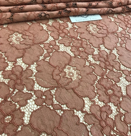 Brown lace fabric. Photo 4