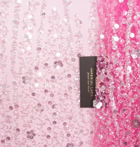 Rozā ombre pērļots izšuvums uz tilla auduma. Photo 1