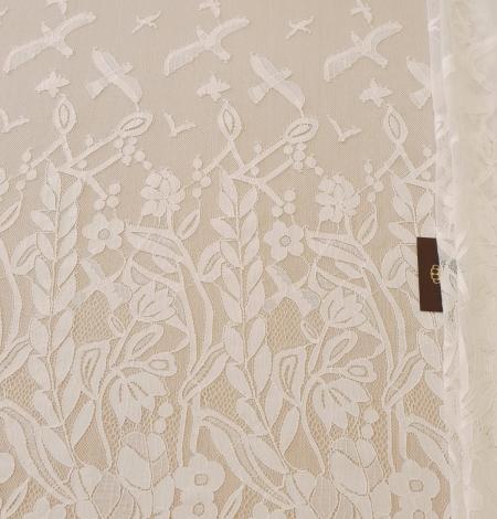 Ziloņkaula puķaina Chantilly mežģine. Photo 11