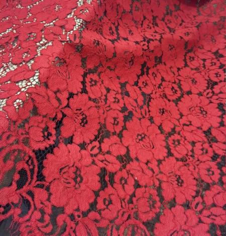 Sarkana ar melnu guipure mežģīņu audums. Photo 1
