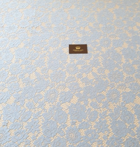 Light blue floral pattern guipure lace fabric. Photo 6