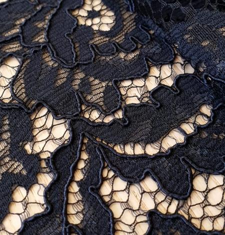 Dark blue guipure lace fabric. Photo 2